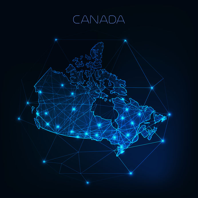Canada map with abstract network